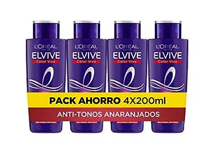 L'Oreal Paris Elvive Color Vive Champú Violeta Matizador, Para Pelo con Mechas, Decolorado o Gris, Anti-Efecto Anaranjado, Pack de 4 unidades x 200 ml, Total 800 ml