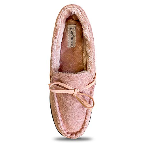 Women Moccasin Slippers Warm Comfort Cozy Soft House Shoes with Fuzzy Plush Fur Lining Casual Slip On Shoe Slipper with Indoor Outdoor Resistant Anti-Skid Rubber Sole Pink