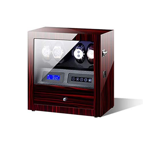 KHUY Watch Winder 4 Orologi, Moderno Scatola del Tempo per Orologi Automatici con Luce a LED, Scatola Porta Orologi Uomo Donna, Motore Estremamente Silenzioso (Color : A)