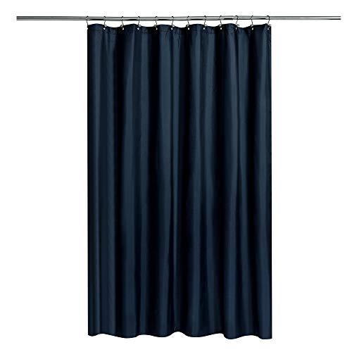 NundY HOME Duschvorhang aus Stoff mit gewichteten Magneten, marineblau, Duschvorhang für Badezimmer mit Hotelqualität, maschinenwaschbar, wasserabweisend, 183 x 183 cm