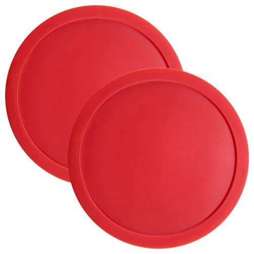 Brybelly Set of Two Large Red 3 1/4 Inch Air Hockey Pucks for Full Size Air Hockey Tables