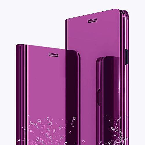 ZYZX Schutzhülle für Motorola Moto G9 Plus, Make-Up-Spiegel, luxuriöses Spiegel-Design mit Klarsicht-Ständer, Schutzhülle aus PU-Leder, stoßfest, Klapphülle für Moto G9 Plus QH, Violett / Rot