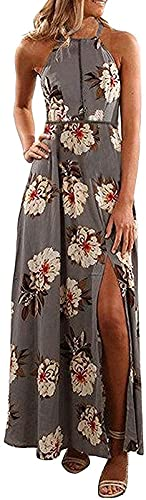 ZESICA Women's Halter Neck Floral Print Backless