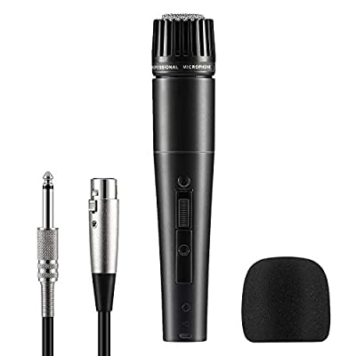 Moukey MWm-4 Dynamic Musical instrument Microphone for Singing with 5M/16.40 ft XLR Cable, Metal Handheld Mic Compatible for Karaoke Singing, Speech, Wedding, Stage and Outdoor Activity