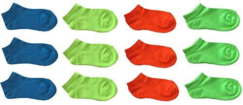 12 paia calze calzini corti bimbo bambino cotone colorati fluo - modello estivo fantasmino (altezza caviglia) (10-12 ANNI)