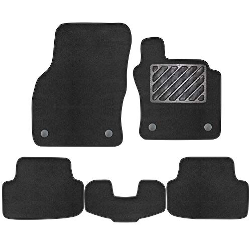 Car Mats Fit Skoda Octavia Hatchback and Estate 2013 - 2021 5E with Rubber Heelped Tailored Deluxe Car Floor Mats Velour Carpet Set of 5 Pieces Accessories For 2014 2015 2016 2017 2018 2019 2020 2021
