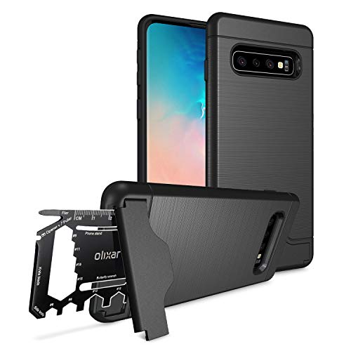 Olixar for Samsung Galaxy S10 Plus Tough Case - with 26 in 1 Survival Multi Tool - Protective Armour Cover - Credit Card Slot & Built in Stand - X-Ranger - Black