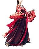 Mujeres Hanfu Traje Antiguo Hada y Elegante Vestido Largo Rojo Estilo Chino Mangas Anchas...