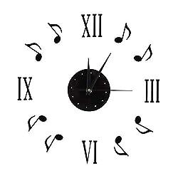 Fdit Wall Clocks Sticker Musical Note 3D Musical Notes and Roman Numerals Vinyl Record Modern Interior Design Home Decor 30-60CM
