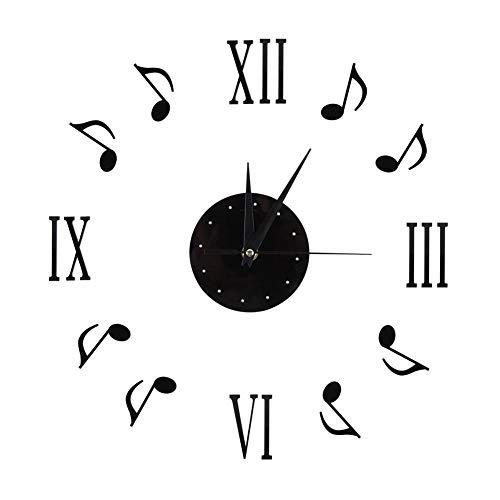 Fdit Socialme-EU Relojes de Pared Etiqueta Nota Musical Notas de Música Números 3D Romanos Disco de Vinilo Diseño de Interiores Decoración Moderna para Casa
