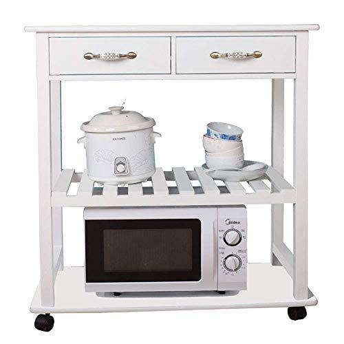 GJJSZ Wine Rack Kitchen Shelf, 3-layer Microwave Oven Rack, White Trolley, Floor-standing Living Room Storage Cart, Multi-function Storage Rack, 80 * 40 * 84CM
