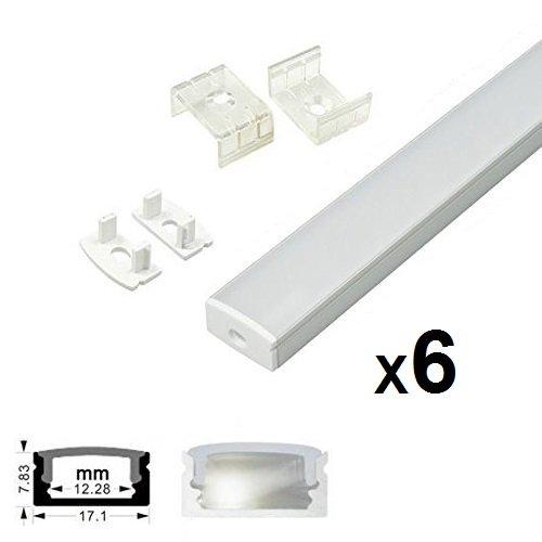 Profilo in Alluminio U-Figura - 6x2 MT Profilo LED per Strisce LED,Compatto Finitura Professionale a Alluminio LED con Tappo laterale terminale ,Clip di montaggio,Copertura Opale