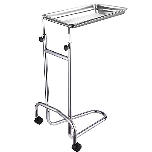 Instahibit Mobile Instrument Mayo Stand Stainless Steel Adjustable Tray Medical Doctor Tattoo Spa Salon Equipment