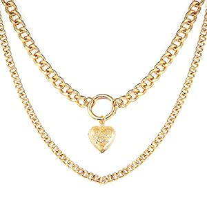 Gleamart Gold Chain Layered Necklace Heart Shape Double Layer Necklace for Women