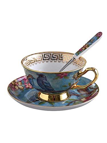 lqgpsx Juego de té,Juego de Tazas de café Tradicional Vintage,platillo de Porcelana de Hueso,Taza de té de cerámica,Taza de té de Porcelana,vajilla,Juego de té,Regalo