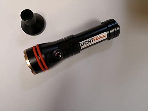 LICHTFUXX - LED-Taucherlampe/Tauchlampe (1200lm) mit Magnetschalter; hochwertig, robust; bis 100m Tiefe inkl. Zubehör
