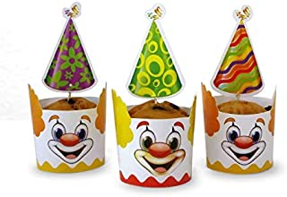 Clown Party Theme Accessories (Cupcake Wrapper and Pick)