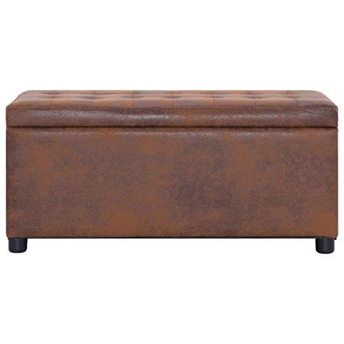 vidaXL Ottoman mit Stauraum Sitzhocker Sitzwürfel Sitzbank Aufbewahrungsbox Hocker Truhenbank Sitztruhe Truhe Sitzbox 87,5cm Braun Wildleder-Optik - 3