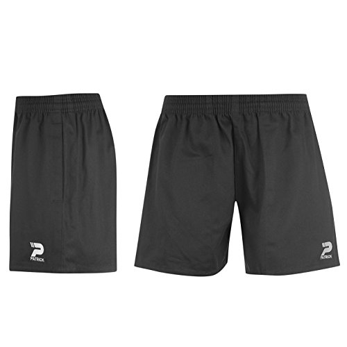 Patrick Kinder Jungen Rugby Shorts Leicht Baumwolle Sporthose Kurze Hose Schwarz S