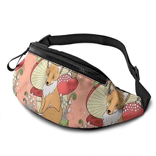 FengLiuAiShuaiGe Daypacks Floral Fox Mushroom Vector Fanny Pack Sac de Taille de Mode,