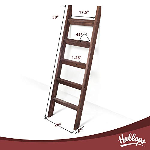 Blanket Ladder 5 ft. Wood Rustic Decorative Quilt Ladder. Brown Vintage Wooden Decor. Throw Blankets Holder Rack (Thick Premium Brown)