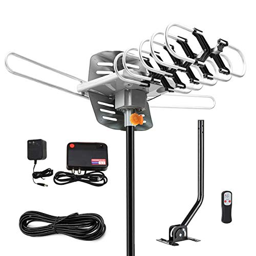 [Upgraded 2019] Amplified HD Digital TV Antenna - Outdoor HDTV Antenna 150 Mile Range Motorized with Adjustable Antenna Mount Pole for 2 TVs Support UHF/VHF/1080P Remote Control -33
