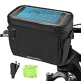 W&H Fahrrad Lenkertasche,4,5 L wasserdichte Frontfahrradtasche mit Touchscreen,Fahrradkorbtasche mit abnehmbarem Schultergurt und Regenschutz,geeignet für alle Handys