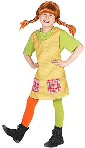 Maskworld Pippi Langstrumpf Kostüm für Kinder - 3teilig - grün/gelb Lizenz Filmkostüm (110/116)