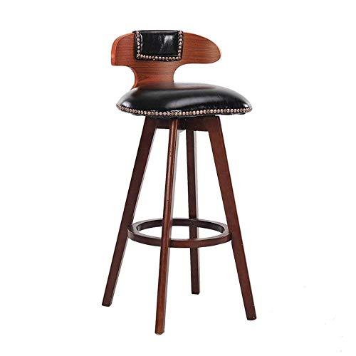 NUBAOgykongtiao Silla de comedor, silla de bar, silla de desayuno, taburete alto de madera maciza, silla de comedor, taburete retro (color: marrón, tamaño: 70 cm) (color: negro, tamaño: 80 cm)