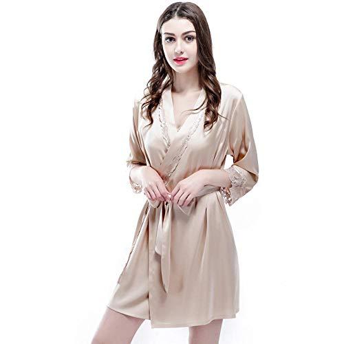 LHK Gestickte Robe Damen Bademäntel Sieben-Punkt-Ärmel Pyjama Strickjacke nach Hause binden-Pink_M