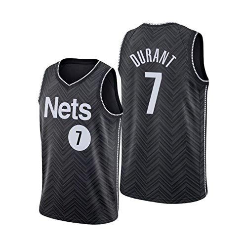 QJL Jerseys de Baloncesto de Durant para Hombres, Redes Durant # 7 Swingman GARANDED Jersey - Versión Bordada Negra (S-XXL) XXL