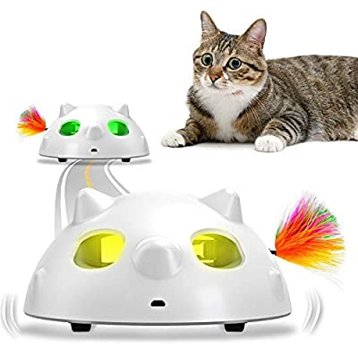 goopow Interactive Cat Toys, Automatic Irregular USB Charging Dog Kitten Pet Ambush Toys, Rotating Feather Ball Indoor Toy for Cat Kitten, Build-in LED Light, Automatic On/Off, Large Capacity Battery