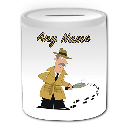 UNIGIFT Personalisiertes Geschenk – Detektiv-Spardose (Besatzungs-Design) – Einzigartige Spardose – Job Sherlock Holmes Institution Anwalt Polizist Investigator