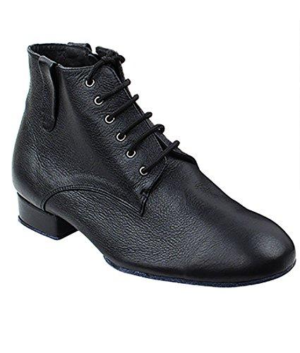 Very Fine Ballroom Latin Tango Salsa Dance Shoes for Men RCCL9001 1 inch Heel + Foldable Brush Bundle - Black Leather - 10