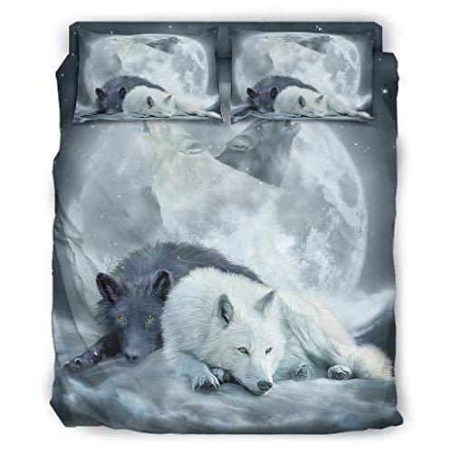 DAMKELLY Store Juego de cama de 4 piezas Yin Yang Wolf con impresión cálida, 4 piezas, 203 x 230 cm, color blanco
