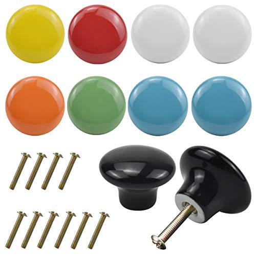 Jinlaili 10PCS Colorate Pomelli Cassetti Mobili, 32MM Pomelli per Porta, pomelli rotondi in ceramica, Manopole per Mobili da Cucina Pomelli per Mobili, Pomelli Per Cassetti Cucina Armadio