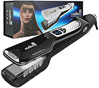 Hair Straightener,Professional Steam Flat Iron with New Tourmaline Ceramic Coating & Removable Guide Comb & Smart LCD Display & Adjustable Temp & Dual Voltage Hair Straightening Irons for All Hair Types BALCK