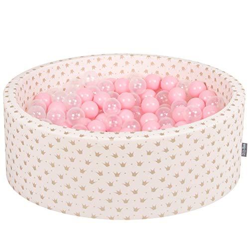KiddyMoon Bällebad 90X30cm/300 Bälle ∅ 7Cm Bällepool Mit Bunten Bällen Für Madchen Babys Kinder Rund, Golden-Ecru: Rose/Transparent