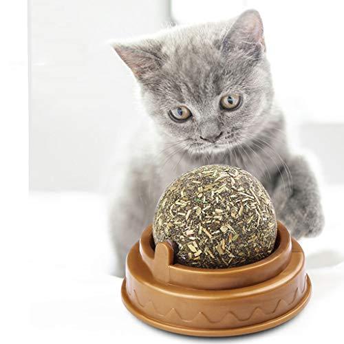 Boji Katzensnack Süßigkeiten,Katzenleckspielzeug Molar Zahnen Snack Spielzeug Mit Solidem Candy Ball, Natürliche Katzenminze Katze Wand Stick-on Ball Spielzeug Behandelt Gesunde Natürliche Gras Snack