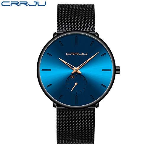 Moda Reloj de Moda Top Marca Marca de Lujo Cuarzo Muñeca Reparación Casual Reparación Net Steel Impermeable Sports Watch MYCH (Color : Black Blue Rose)