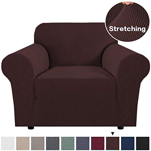 Stretch Sofa Slipcover 1-Piece Couch Sofa Cover Furniture Protector for Living Room Stretch Polyester and Spandex Jacquard Sofa Slipcover/Couch Cover Sofa Cover for 1 Seater (Chair, Brown)