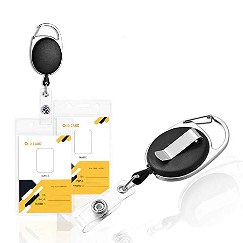 2 Pack Retractable Badge Holders with Metal Belt Clip Waterproof Carabiner Badge Reel with Vertical ID Card Holder Portable Name Tag Holders for Card Keychain