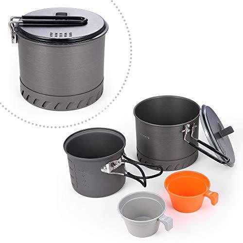 TOMSHOO Kit de Cuisine de Camping Portable 4pcs 1.3L Bol+0.9L Bol+2 Tasse 175ML pour Randonnée Barbecue Camping Pique-Nique