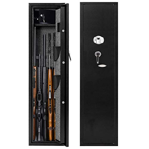 CISNO Biometric Rifle Gun Safes, Quick Access Fingerprint Rifle Gun Cabinet, Large 5-Gun Storage Rifle Safes with Two Handgun Holders (Fingerprint 5 Rifles)