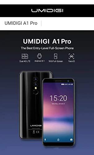 UMIDIGI A1 Pro - 5.5 Pulgadas (relación 18: 9) HD + Smartphone 4G con Android 8.1, MTK6739 1.5GHz 3GB + 16GB, cámaras triples, reconocimiento Facial, batería de 3150mAh - Negro