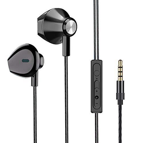 Auriculares intraurales con Cable y Control de Volumen de micrófono para Samsung Galaxy, iPhone 6S Plus, Google Pixel 3a XL, Motorola Moto LG BLU Vivo ZenFone Alcatel UMIDIGI Tablet Laptop