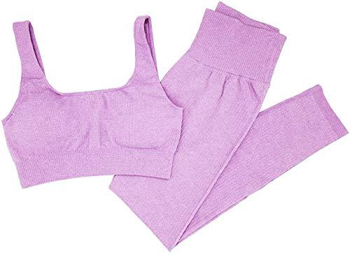 Mayround Yoga Outfits Workout Sets für Frauen 2 Stück gerippt nahtlos Yoga Outfits Sport BH und Leggings Set Trainingsanzüge 2 Stück Gr. Large, violett