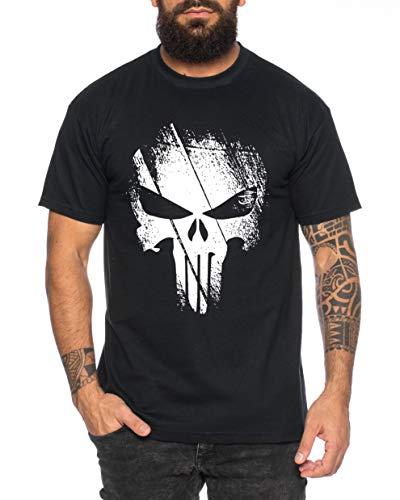 Punish - Herren T-Shirt Jon Bernthal Skull Logo Comics, Farbe:Schwarz, Größe:3XL