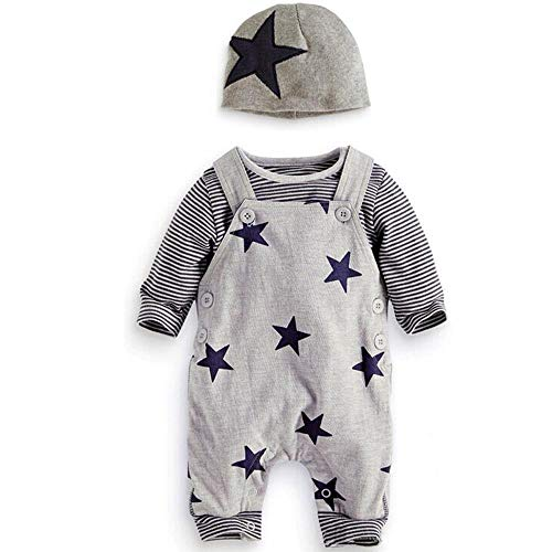 Sunday Neugeborene Baby Kleidung Mädchen Jungen Set Langarm T-Shirt Top + Overall Hose +Hüte Outfits Unisex Baby Kleidung Set Herbst Winter Kleidung 0-6 Monate