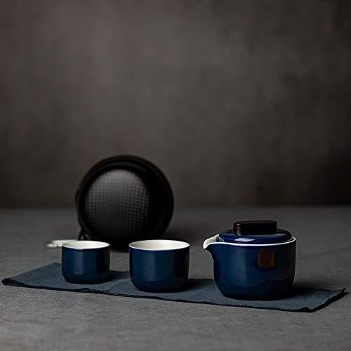 Sdvklly Tetera de cerámica con 2 Tazas Un Juego de té de Viaje portátil con Bolso de Viaje (Color : Blue)